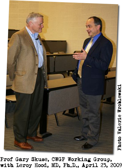 Professor Gary Skuse with Leroy Hood, MD, Ph.D., at RIT on April 23, 2009